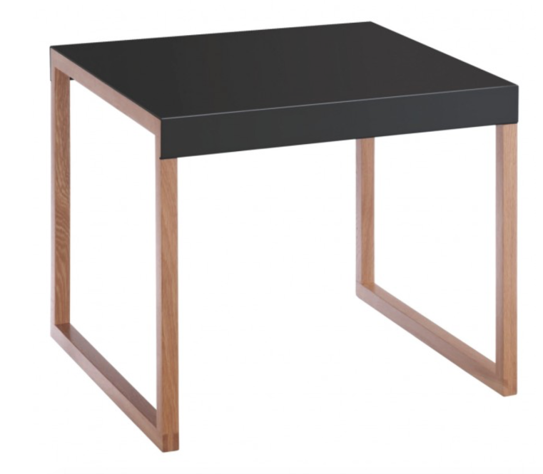 2016 interior design trends - Black powder coated steel and wood side table by Habitat
