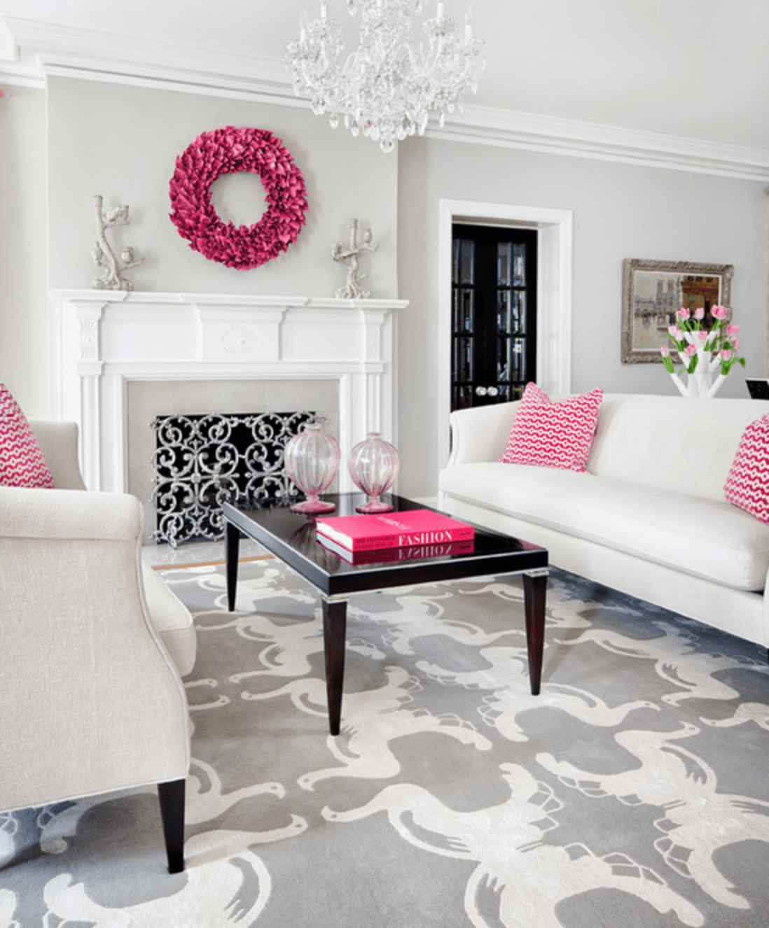 Neutral room with hot pink accessories by Martha O'Hara Interiors via Houzz