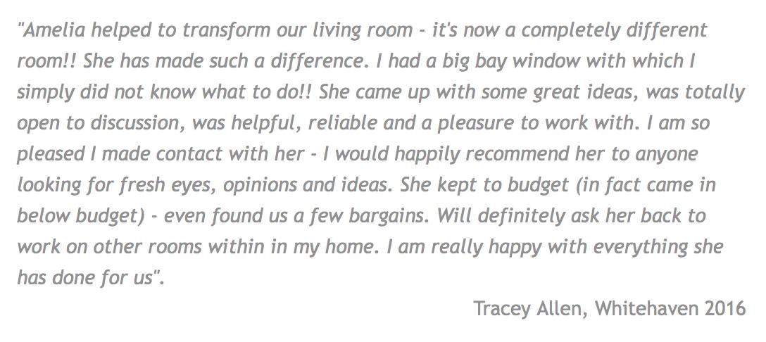 Customer review for Amelia Wilson Interiors Ltd