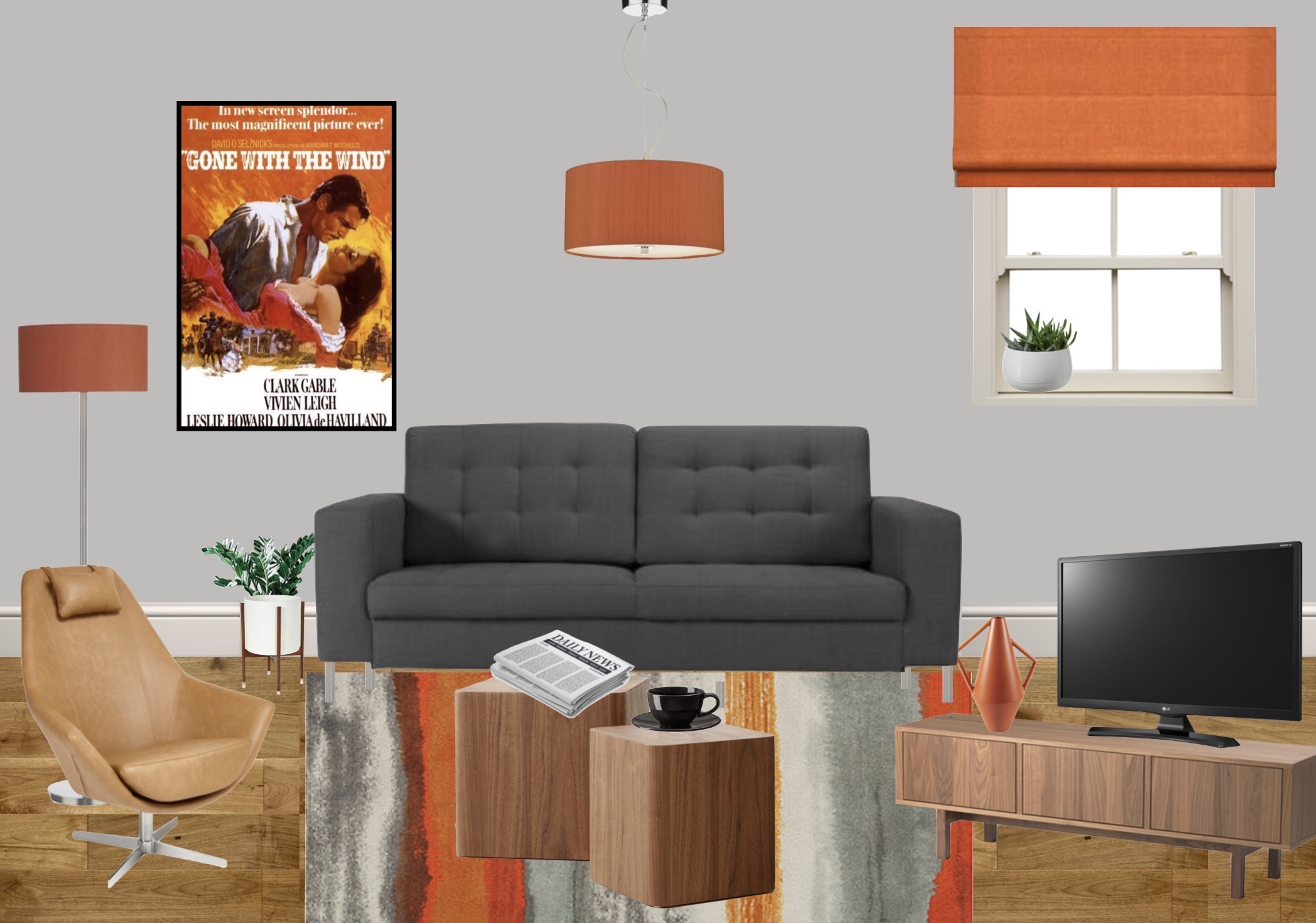 Moodboard for show home living room with contemporary midcentury modern feel