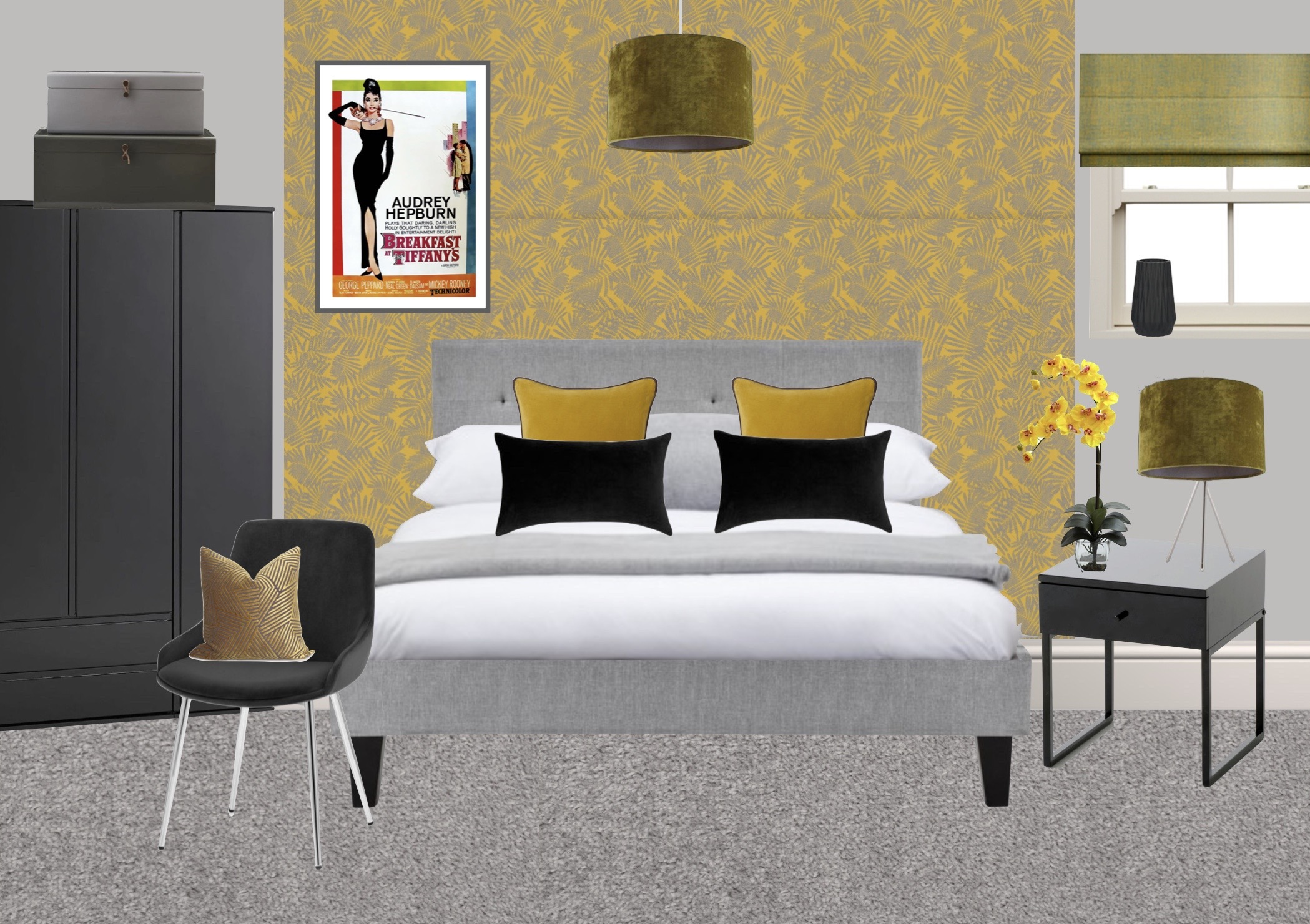 Moodboard for master bedroom in show home designed by Amelia Wilson Interiors Ltd