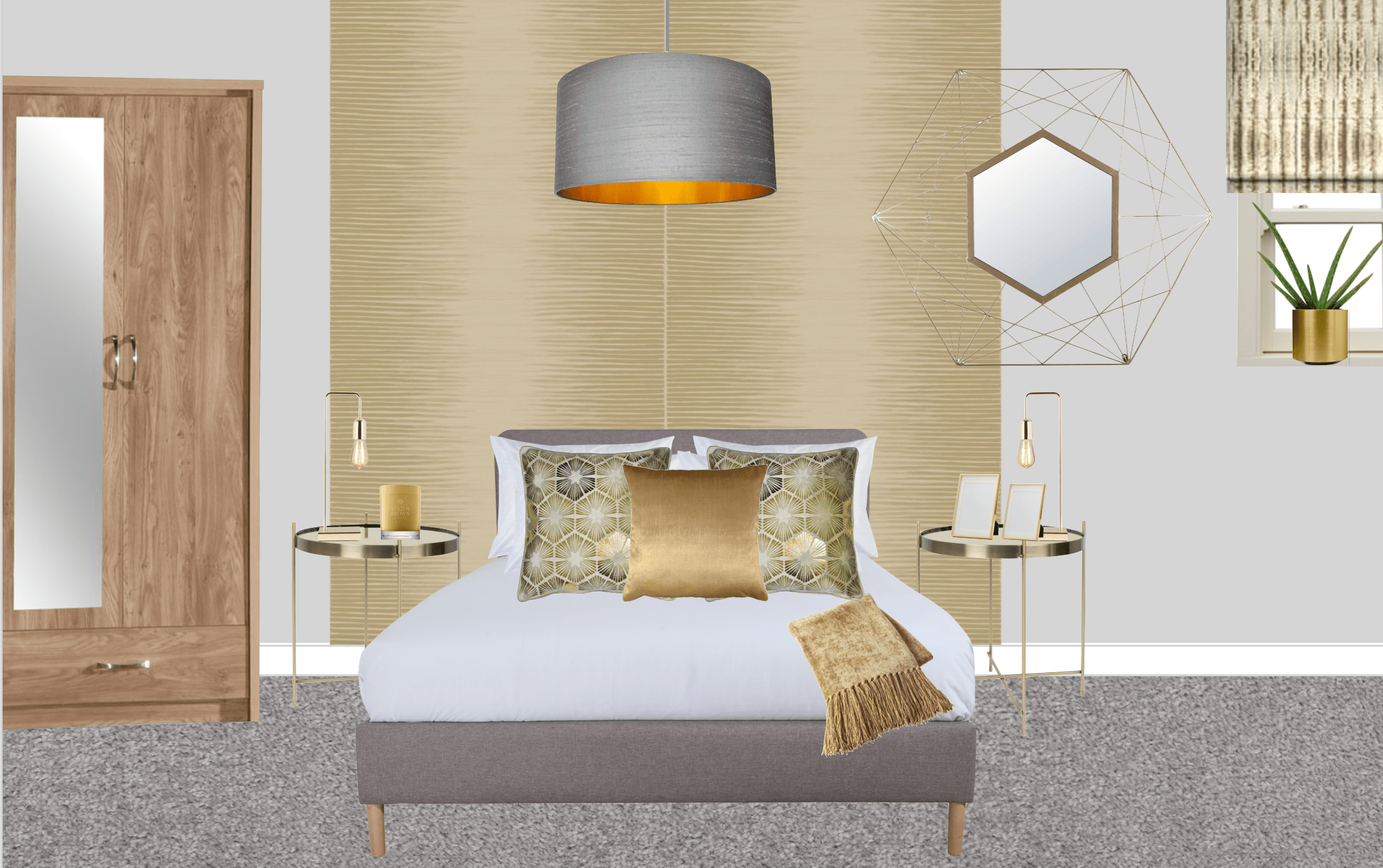Gold and grey bedroom moodboard for show home design