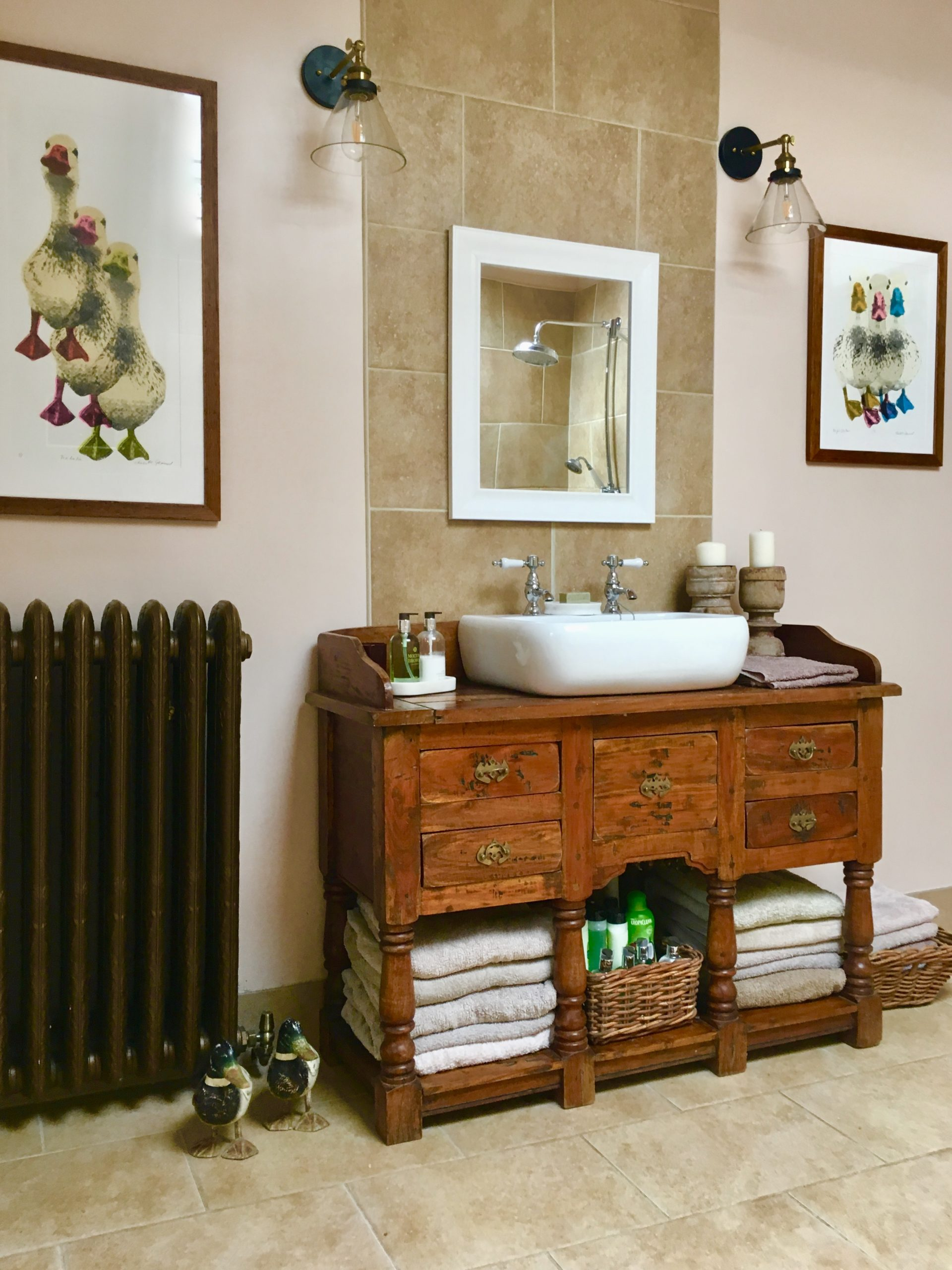 Rustic wetroom industrial lighting traditional vanity unit cast iron radiator