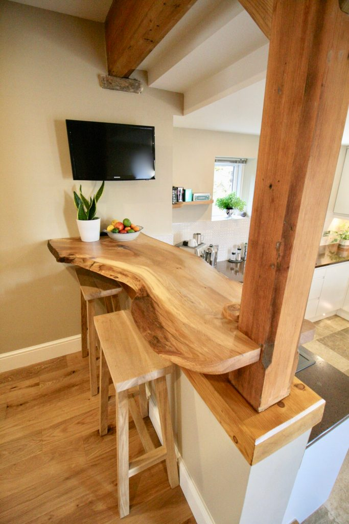 Live edge breakfast bar made by The Tree on the Hill Brigham Cockermouth