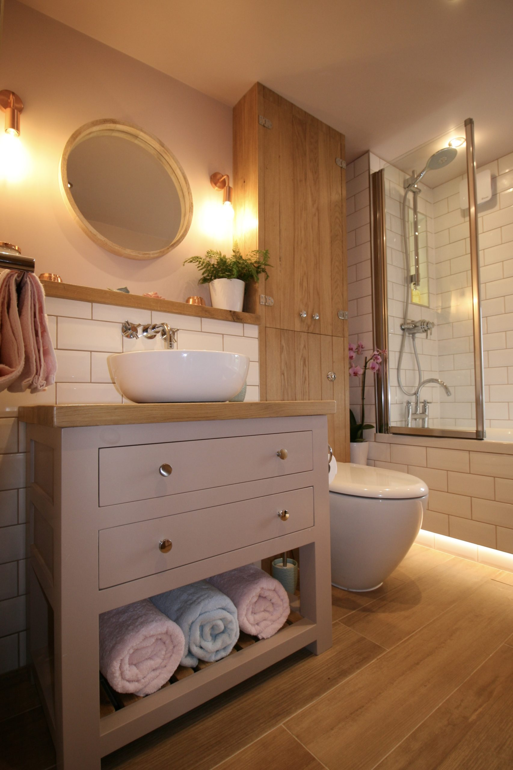 Bathrooms - Oak vanity painted in Farrow & Ball Dead Salmon in bathroom designed by Amelia Wilson Interiors