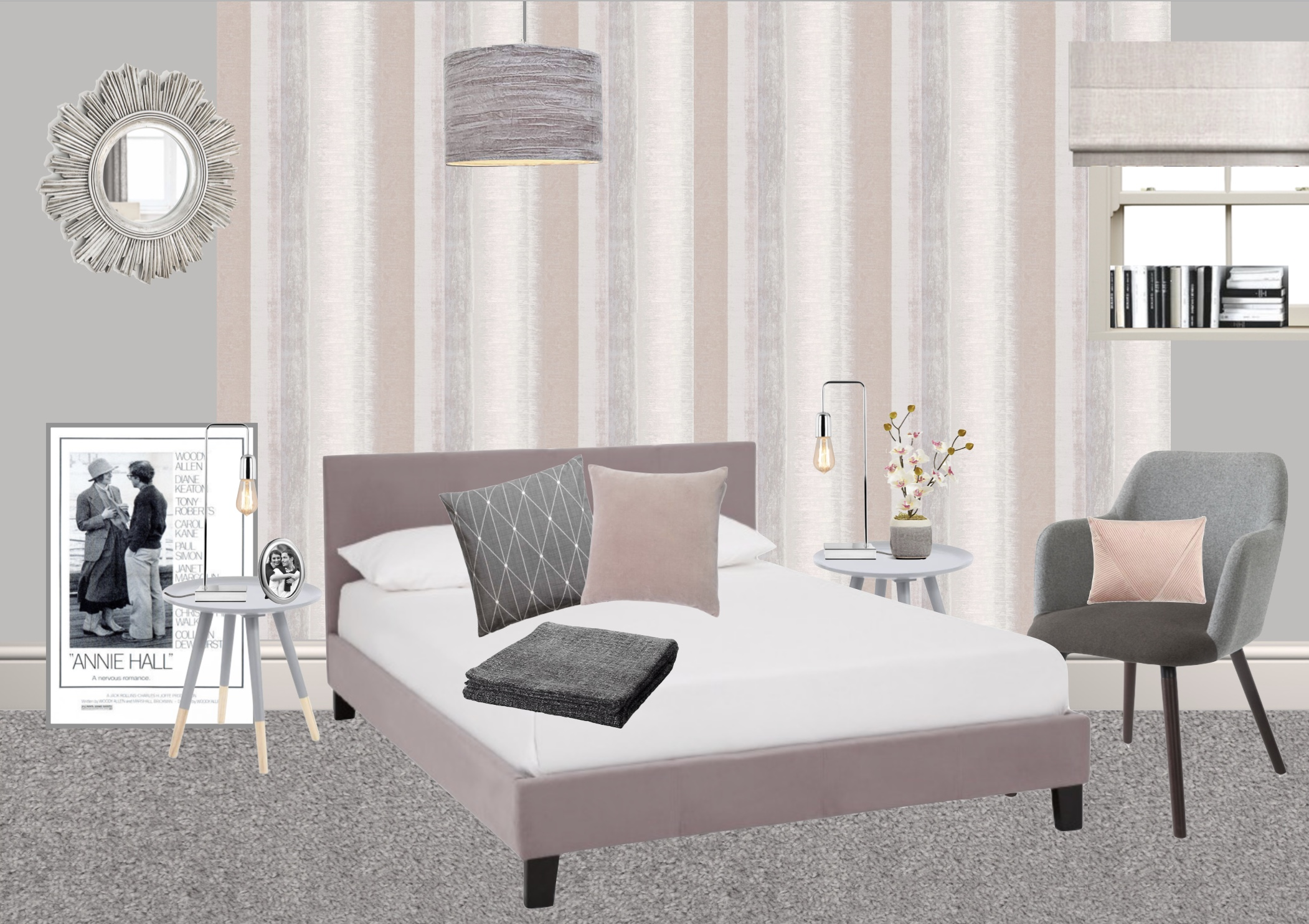 Moodboard for second bedroom in show home designed by Amelia Wilson pink and grey bedroom