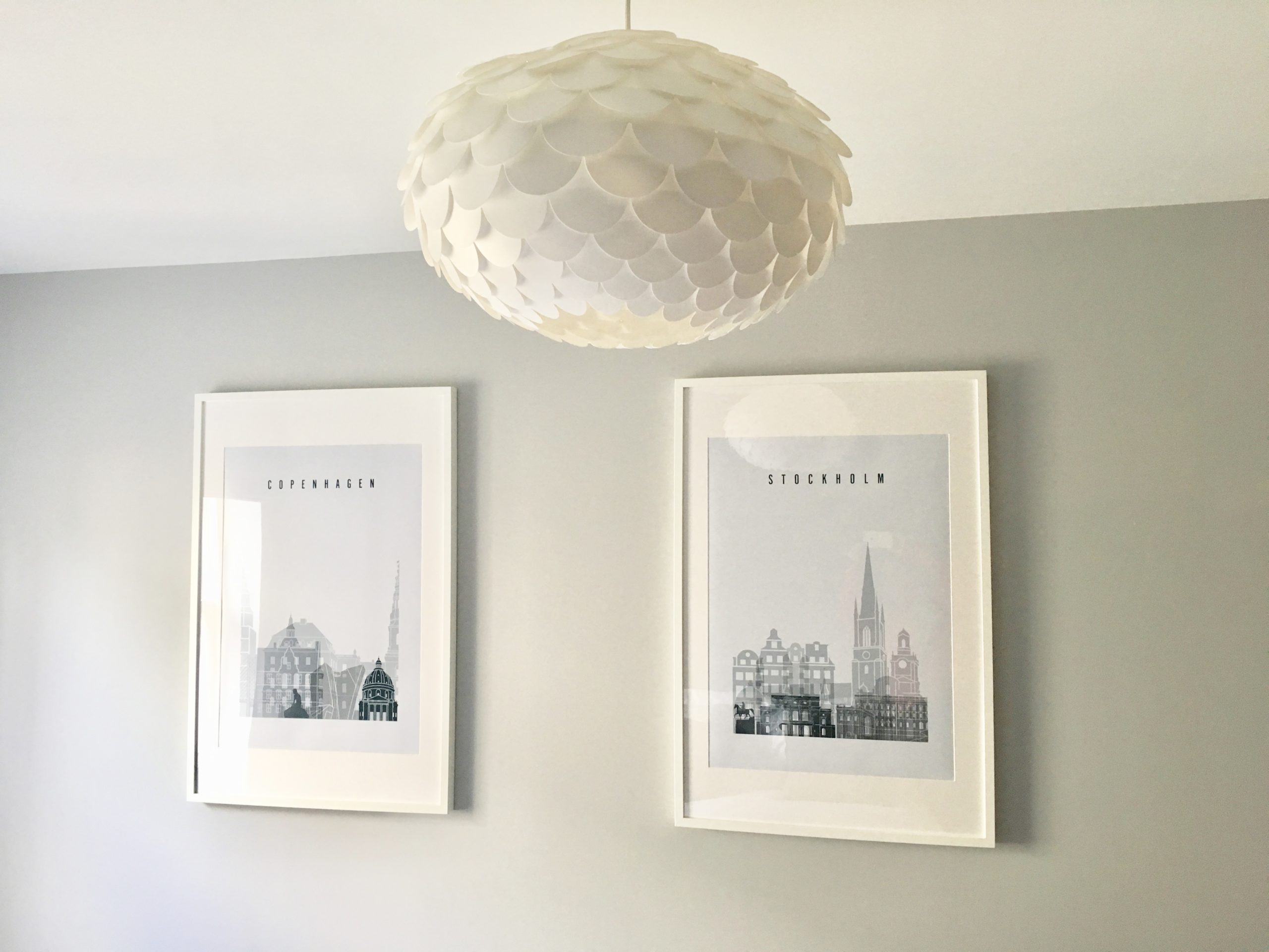 Stockholm and Copenhagen skyline prints from Etsy in show home designed by Amelia Wilson Interiors Ltd