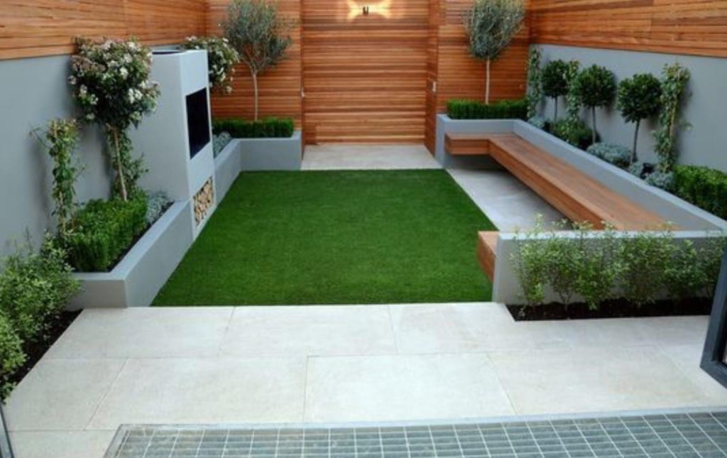Modern garden design horizontal timber cladding fencing