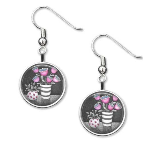 Pink and grey drop earrings