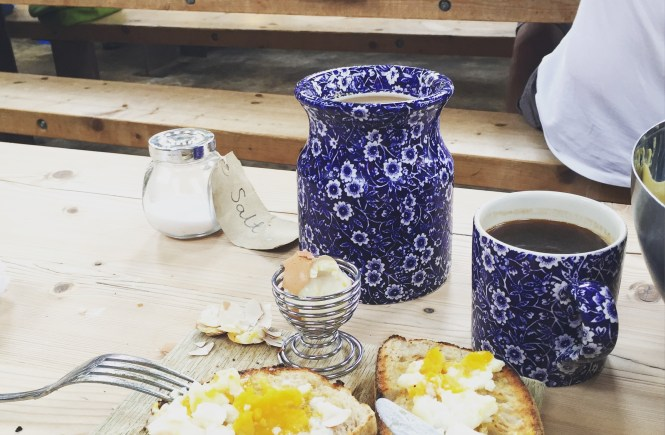 eggs on toast and coffee on the table at the buttery Poundbury