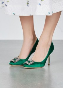 Green jewelled manolo blank shoes