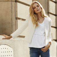 The White Company white tweed jacket