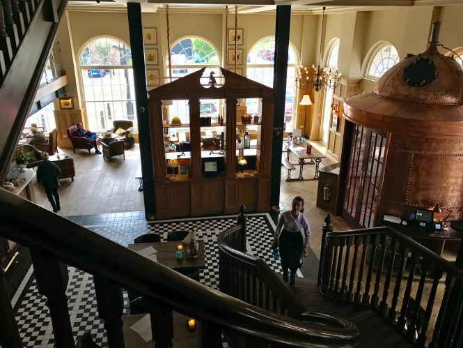Staircase and grand interior of the Duchess of Cornwall Inn