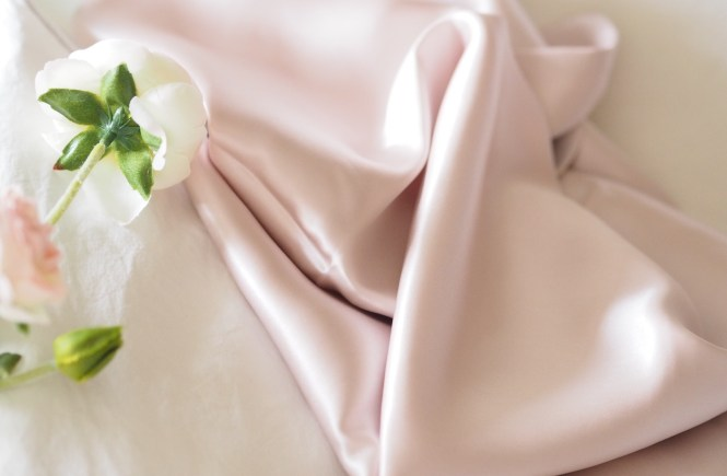 soft pink silk pillow case