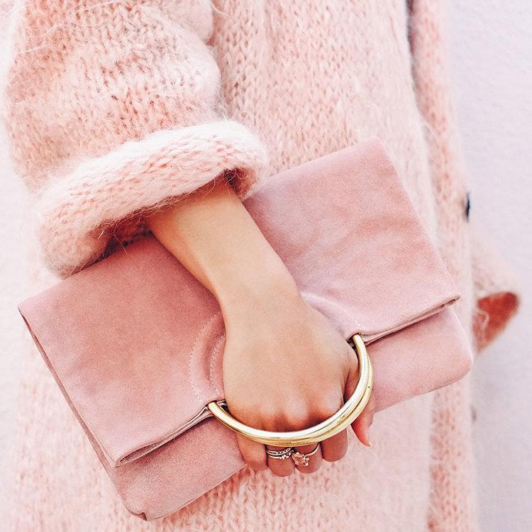 Belgrave Crescent pink suede bag