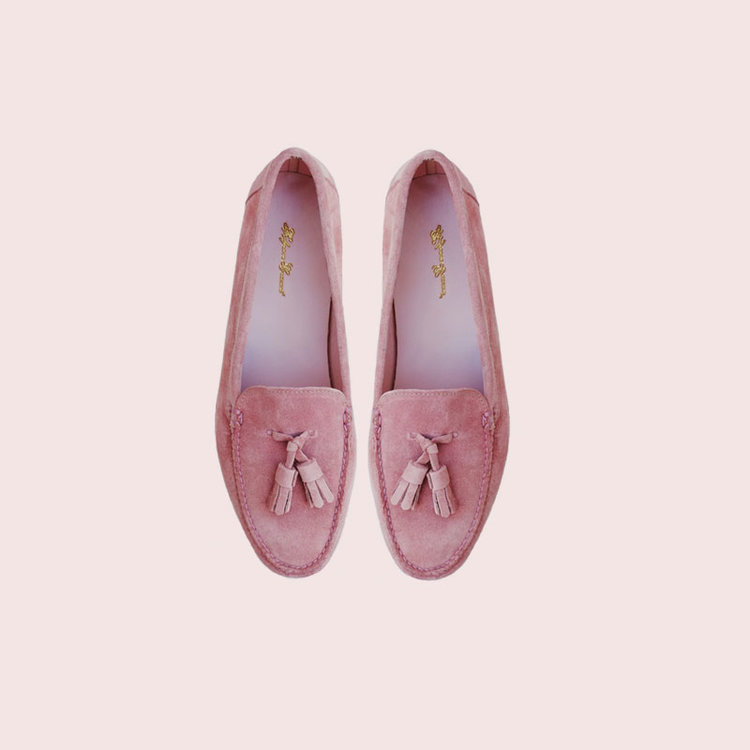 pink suede tassel loafers belgrave crescent