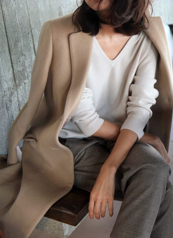 camel cashmere coat and white jumper fashion