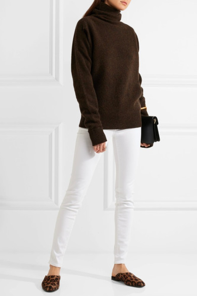 J Brand jeans in white with chocolate jumper