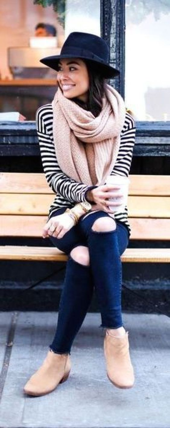 Blue stripe top and pink knit scarf winter fashion trends