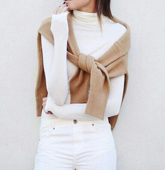 white and taupe winter fashion