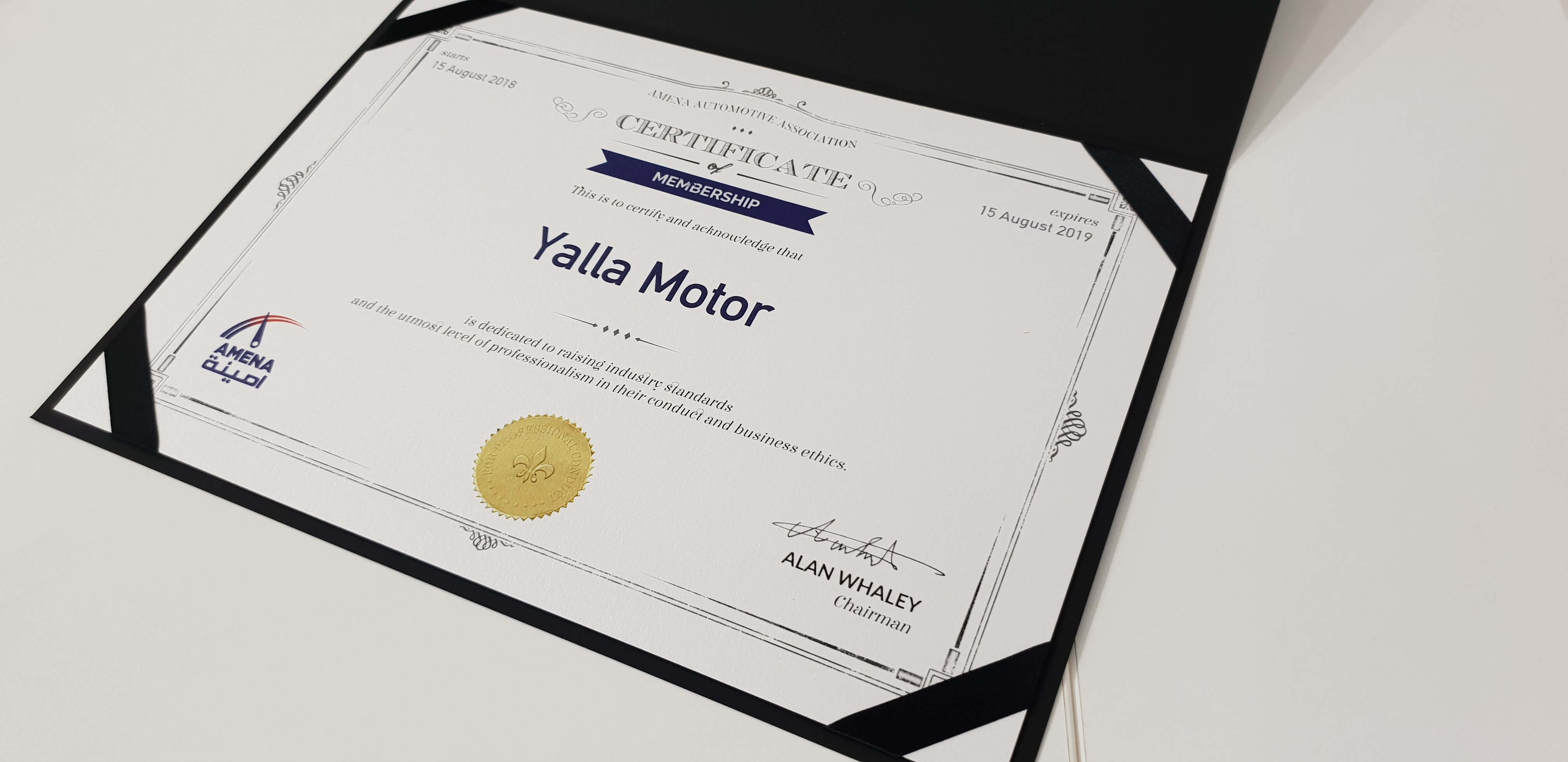AMENA Auto and Yalla Motor Alliance Certificate