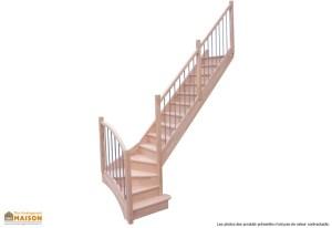 Escalier quart tournant bois