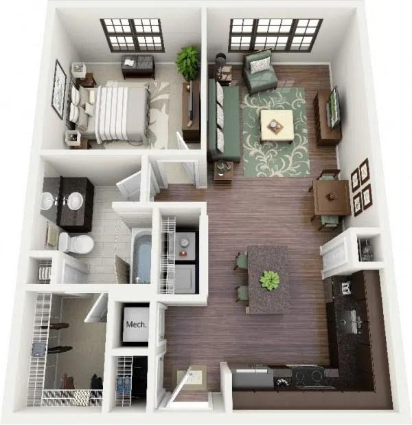 50 Plans En 3D Dappartement Avec 1 Chambres