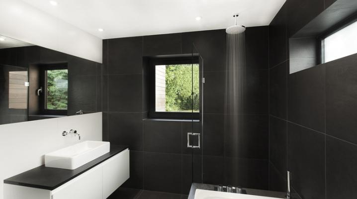 salles de bain noir et blanc contemporaines