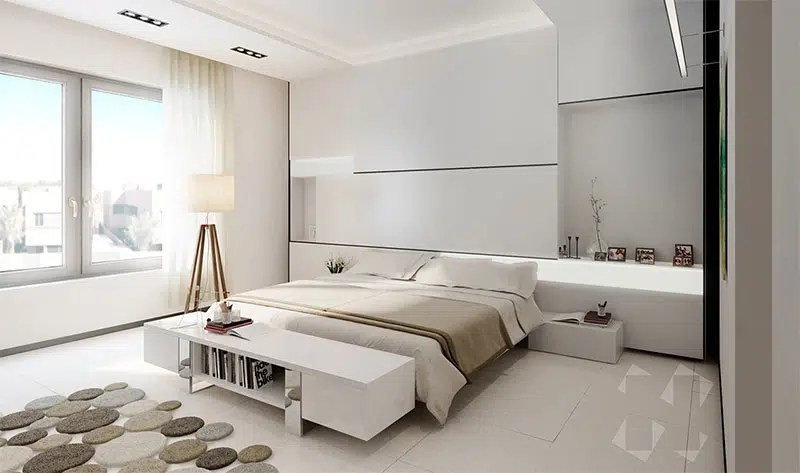 chambre avec des couleurs neutres