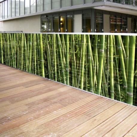 brise vue de jardin en polyester decor bambous 300 x 80 cm