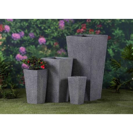 jardiniere en beton fibre conique 42 x 42 x 90 cm gris anthracite