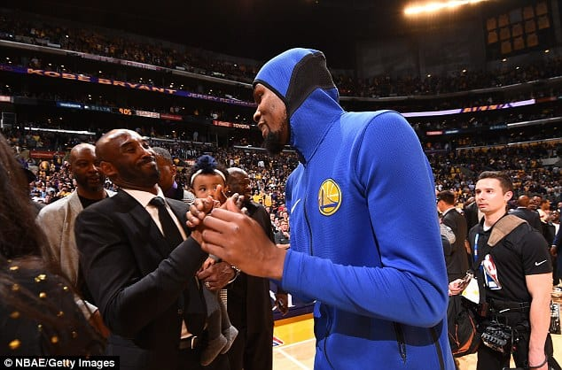 Kevin Durant shakes hand with Kobe during the ceremony at Staples Cente [www.AmenRadio.net]