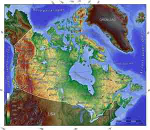 topographic map of Canada @America.de