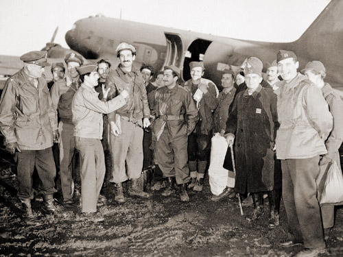 The real deal: Chetnik guerillas and Allied officers on the Pranjani airstrip, 1944.