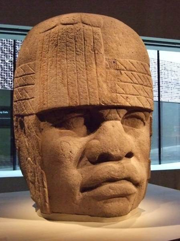 Old World bust of Olmec Head - First Americans