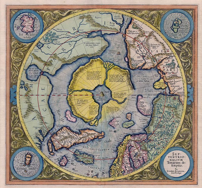 Old world 1595 Mercator Map of the North Pole