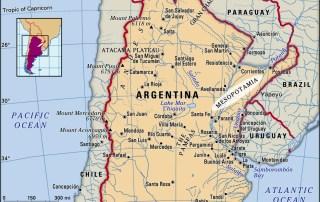 Map of Mesopotamia in Argentina