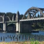Obelisks on a Oregon bridge