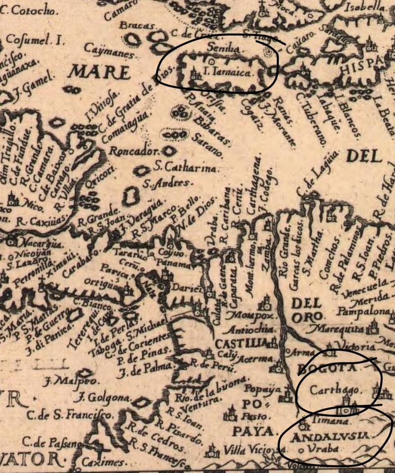1491 Map of Andalusia in South America