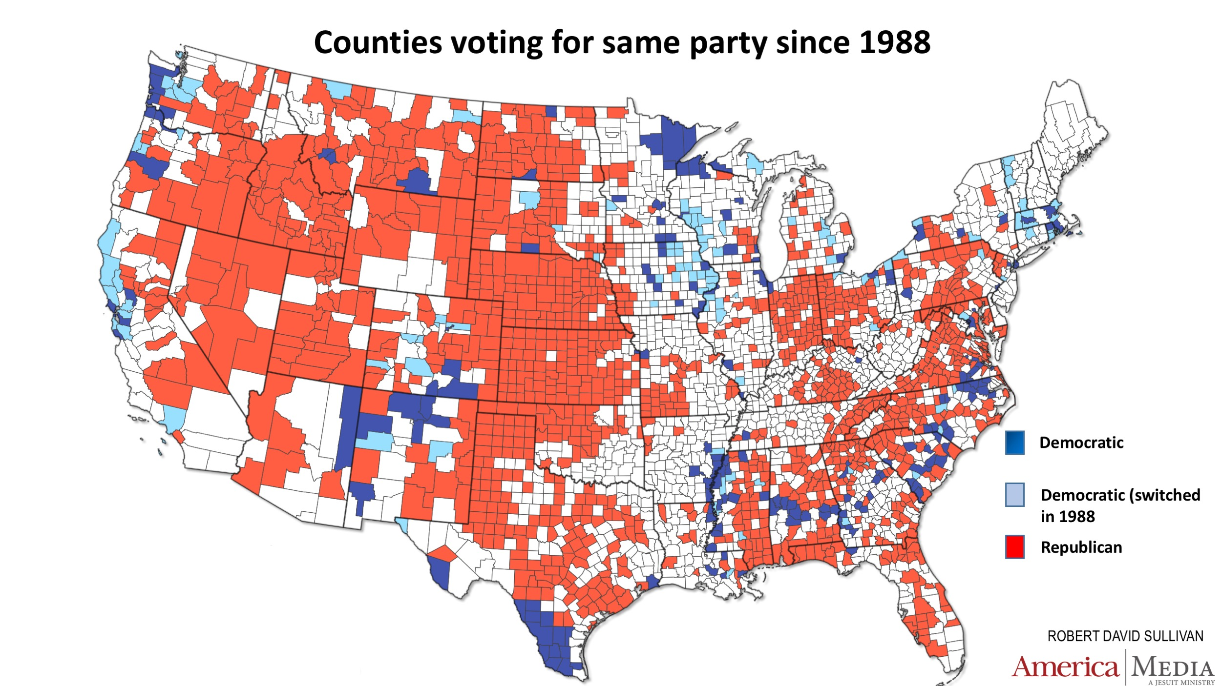 How The Red And Blue Map Evolved Over The Past Century America Magazine