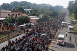 Central American migrants depart fromCiudad Hidalgo, Mexico, on Oct. 21. (AP Photo/Moises Castillo)