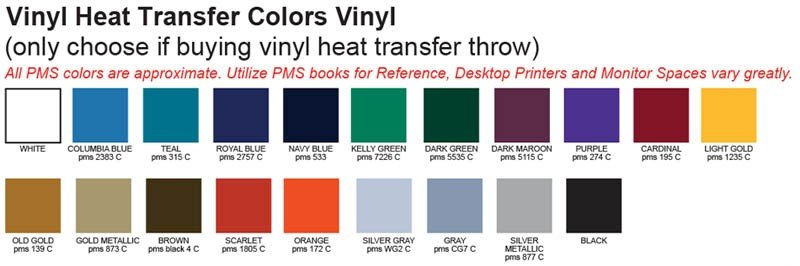 2015 logo table throw vinyl color choices