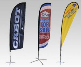 Economy Feather Flags with outdoor flag stands