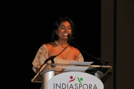 Former Miss America, the moderator, at the Indiaspora gala held at Marriott Marquis in Washington, DC, on January 3, 2017. Photo credit: The American Bazaar