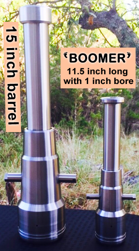 "American Cannons black powder cannons comparison between standard 15"" cannon and small Boomer"