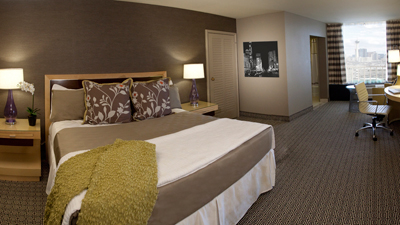 A deluxe room at the Plaza Hotel & Casino in Las Vegas