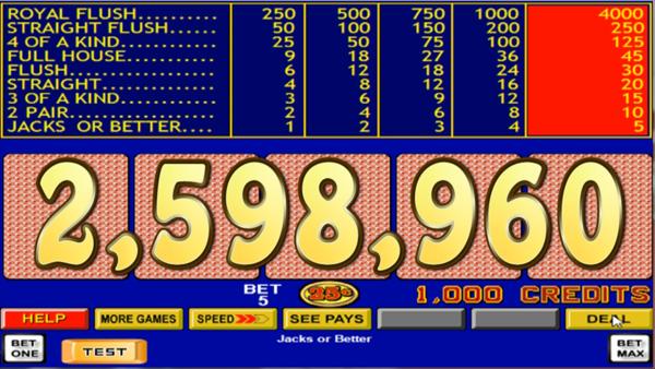 2598960 unique video poker hands