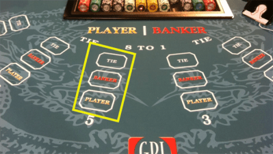 player, banker and tie bet in baccarat
