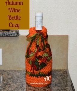 Autumn WIne Bottle Cozy | Free Crochet Pattern | American Crochet @americancrochet.com #freecrochetpattern