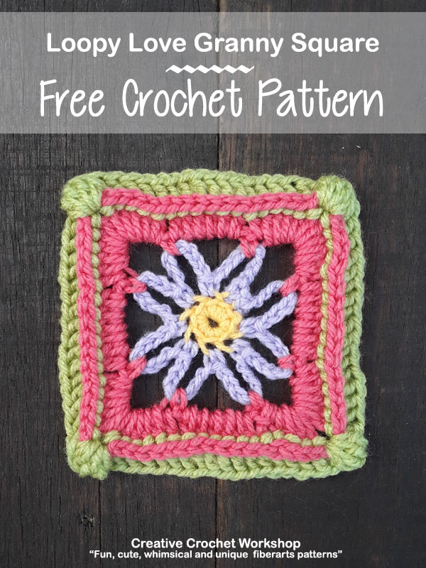Loopy Love Granny Square - Free Crochet Pattern | Creative Crochet Workshop @creativecrochetworkshop | American Crochet @americancrochet #grannysquare #freecrochetpattern #groovygrannysquarecal